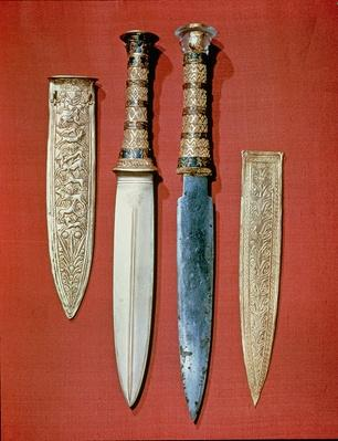 The king's two daggers, from the tomb of Tutankhamun