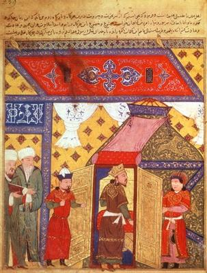 Ms. Supp. Pers. 1113 fol.239 Pavilion tents erected by Ghazan Khan in 1302, from a book by Rashid ad-Din