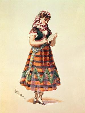 Hortense Schneider in her role in Offenbach's operetta 'La Perichole', illustration from 'Costumes de Theatres de Paris