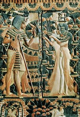 Plaque from the lid of a coffer showing Tutankhamun
