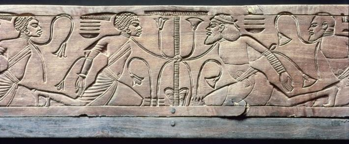 Detail from the ceremonial footstool of Tutankhamun
