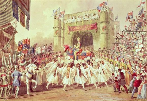 'The Shower of Gold', scene from Charles Kean's production of Henry V, Princess Theatre, 1859