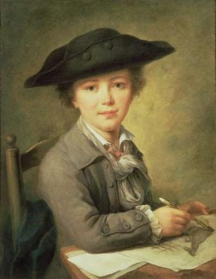 Young draughtsman in black hat, 18th century