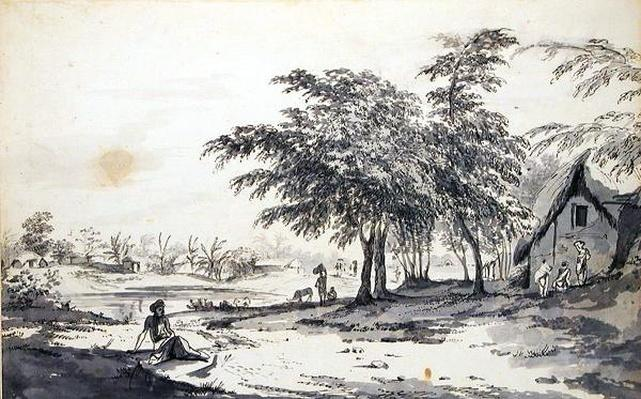 View of an Indian Village with a Man Seated in the Foreground, c.1781-83