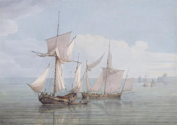 A Hoy and a Lugger with other Shipping on a Calm Sea
