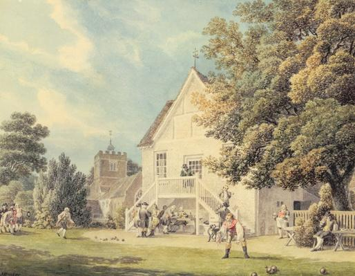 A Game of Bowls on the Bowling Green outside the Bunch of Grapes Inn, Hurst, Berkshire