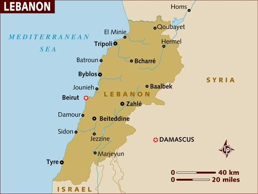 Map of Lebanon | Arab Spring