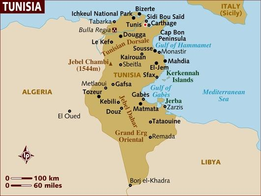 Map of Tunisia | Arab Spring