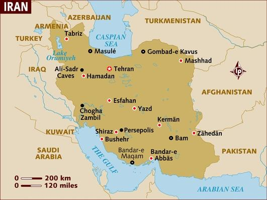 Map of Iran | Arab Spring