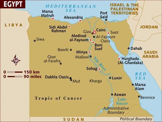 map of egypt arab spring