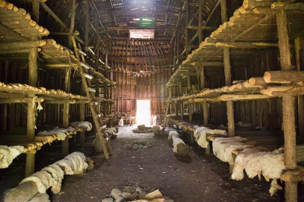 Interior of traditional Iroquois longhouse | Native American