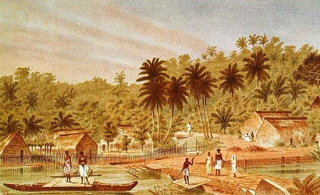 Village of Ngaloa, Kandan, Fiji, from 'At Anchor' by J.J. Wild