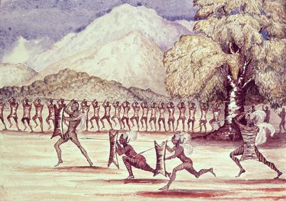 War Dance, illustration from 'The Albert N'yanza Great Basin of the Nile' by Sir Samuel Baker, 1866
