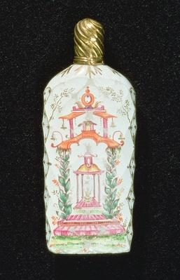 Scent bottle decorated with a pagoda