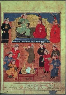 Ms. Supp. Pers. 1113 fol.203v Arghan Khan with two of his wives and his son Ghazan, from a book by Rashid ad-Din
