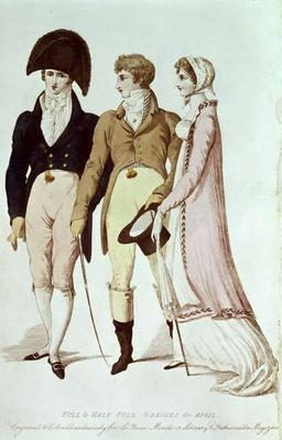 Full and Half Full Dresses for April, illustration from 'Le Beau Monde or, Literary and Fashionable Magazine', 1809