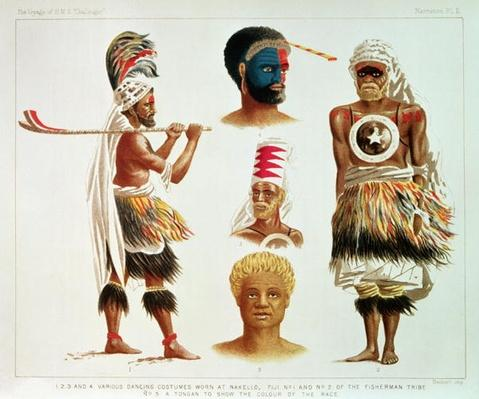 Various Dancing Costumes Worn at Nakello, Fiji, illustration from 'The Voyage of H.M.S. Challenger'