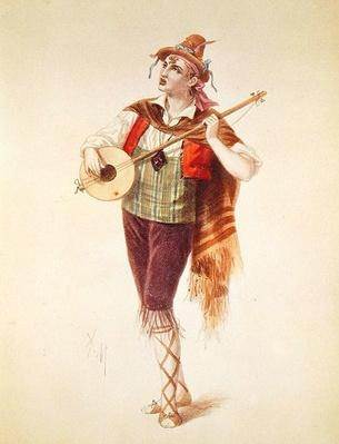 The Actor Dupuis as Piquillo in Offenbach's Operetta 'La Perichole', illustration from 'Costumes des Theatres de Paris', 1868