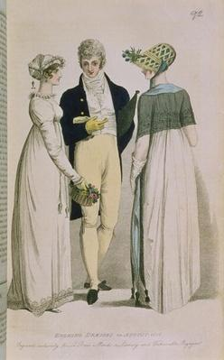 Evening Dresses for August 1808, illustration from 'Le Beau Monde or, Literary and Fashionable Magazine', 1808