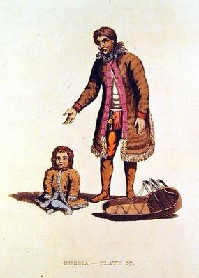 Samoyed woman with her baby and a cradle from 'Dress of the Russians', 1814