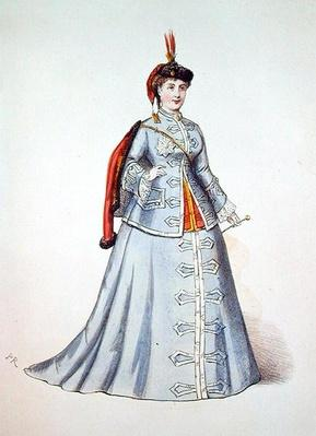 Hortense Schneider in the title role of Offenbach's operetta 'La Grand Duchesse de Gerolstein', illustration from 'Costumes des Theatres de Paris', 1867