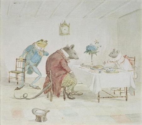 'Pray, Miss Mouse, will you give us some beer', illustration from 'A Frog He Would A-Wooing Go'