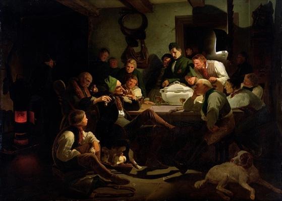 Munchhausen tells his hunting tales, 1842