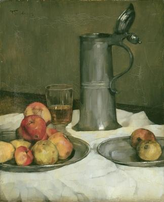 Still life with apples and pewter jug, 1878