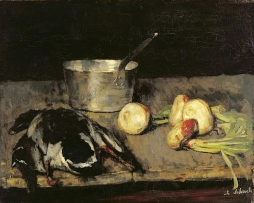 Still life with casserole and wild duck, 1885