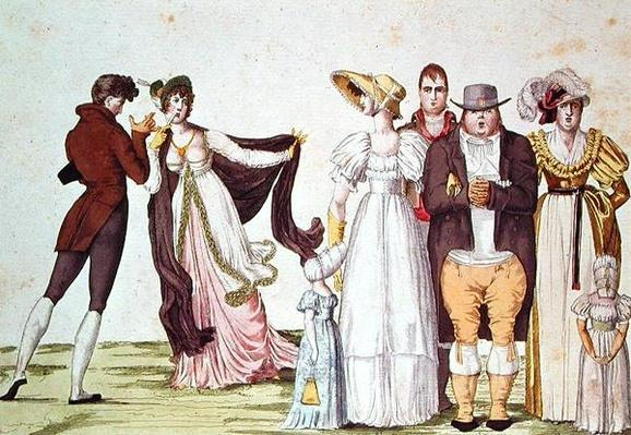 The English Family in Paris, illustration from 'Le Supreme Bon Ton', c.1815
