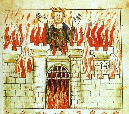 Roy 20 A II f.3 The Burning of Vortigern, from the Chronicle of England by Peter de Langtoft, c.1307-27