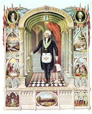 George Washington as a Freemason (litho) by American School, (19th century)