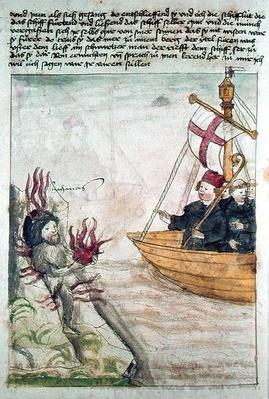 St. Brendan in his ship, from the German translation of 'Navigatio Sancti Brendani Abbatis', c.1476