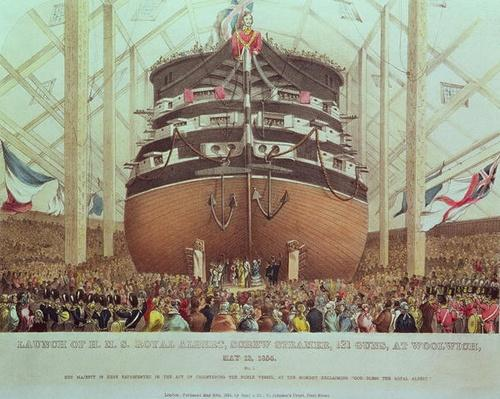 Launch of H.M.S. Royal Albert, Screw Steamer, 131 Guns, at Woolwich, May 13th 1854