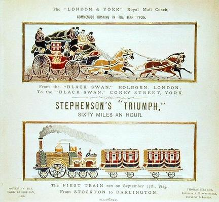 The 'London and York' Royal Mail Coach and Stephenson's 'Triumph', woven for the York Exhibition, 1879