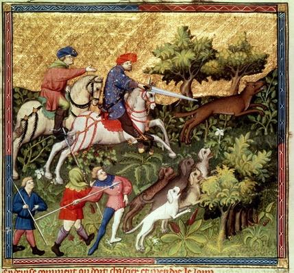 Ms Fr 616 fol.96v Wolf hunt, from a book by Gaston Phebus de Foix