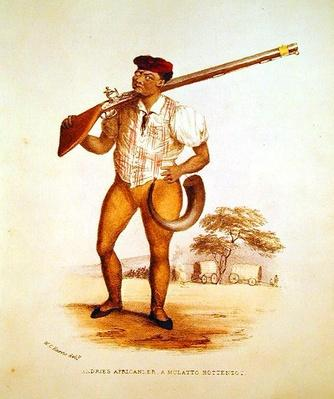 Andries Africander, a Mulatto Hottentot, illustration from 'Wild Sports of South Africa', by W.C. Harris, 1841