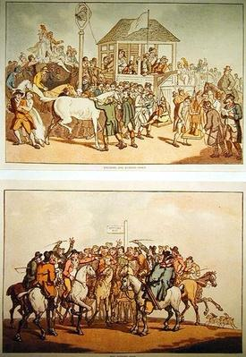 'Weighing and Rubbing Down' and 'The Betting Post', c.1789