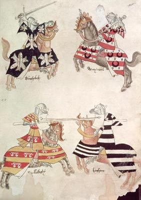 Harley 4205 f.37 Jousting Knights, from Sir Thomas Holmes' Book, c.1445