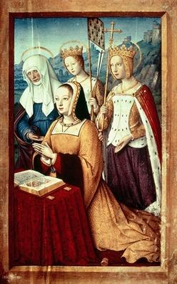 Ms lat 9474 f.3v Anne of Brittany with St. Anne, St. Ursula and St. Helen, miniature from the Grandes Heures of Anne of Brittany, c.1503-8
