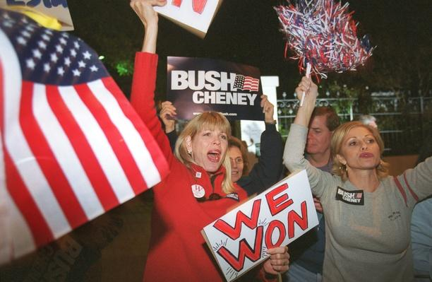 George W. Bush Supporters Celebrate Outside the Governor's Mansion | U.S. Presidential Elections: 2000
