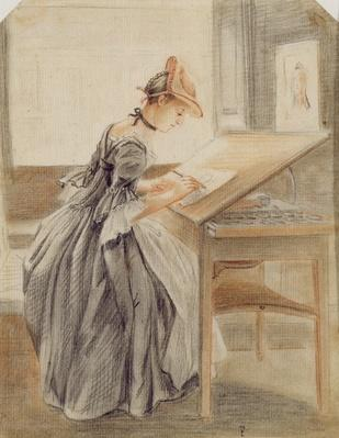 A Lady Copying at a Drawing Table, c.1760-70