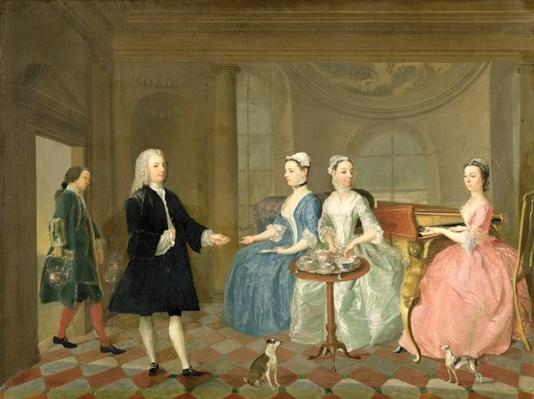 A Family Being Served with Tea, c.1740-45