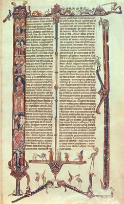 Illustrated page from the Bible of William of Devon, c.1260-70