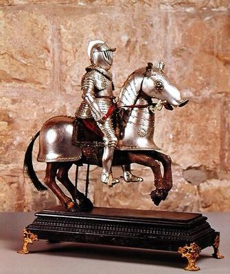 Model of a barded horse and rider, c.1640