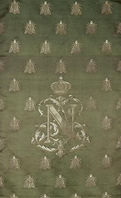 Section of green and gold damask with the emblem and royal crest of Napoleon III