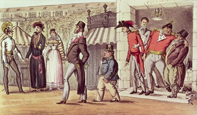 The Occupation of Paris, 1814. English Visitors in the Palais Royal