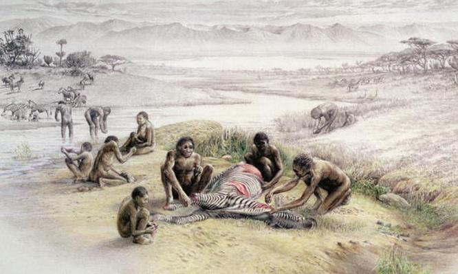 Impression of a camp occupied by Homo habilis