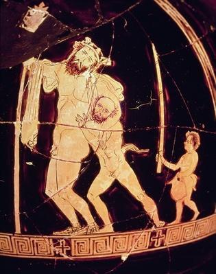 Attic red-figure vase depicting a Dionysian scene