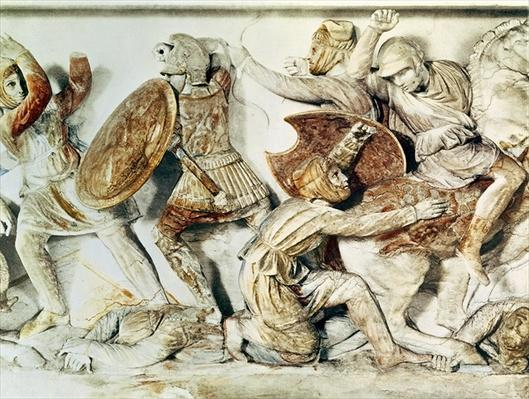 The Alexander Sarcophagus depicting a battle scene, c.325-300 BC